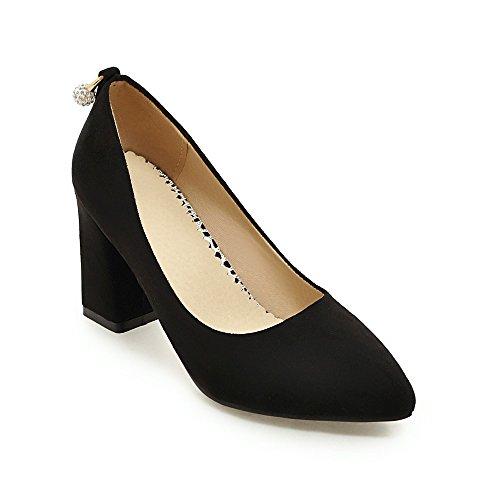 Bouche Haut Avec Épais En Daim 35 black Chaussures Fait Femmes Talon Profonde Peu Simple zvPqCFwE