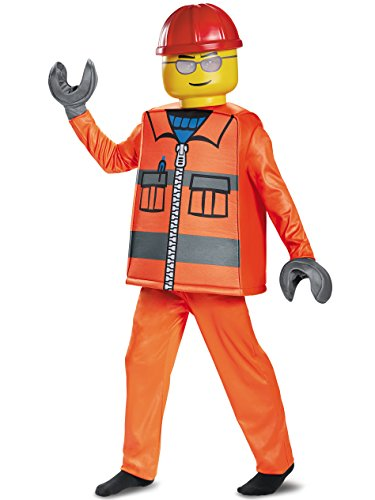 Disguise Lego Construction Worker Deluxe Costume, Orange, Small (4-6) -