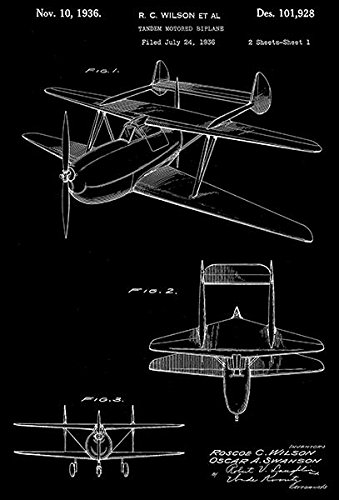 (1936 - Tandem Motored Biplane - R. C. Wilson - Patent Art Poster)