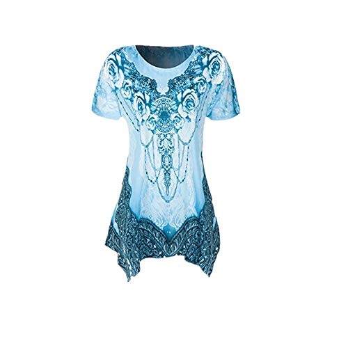 (Plus Size Womens Clothing Respctful✿ Casual Short Sleeve T Shirt Boho Floral Print Top Ladies Casual Hem Blouse Blue)