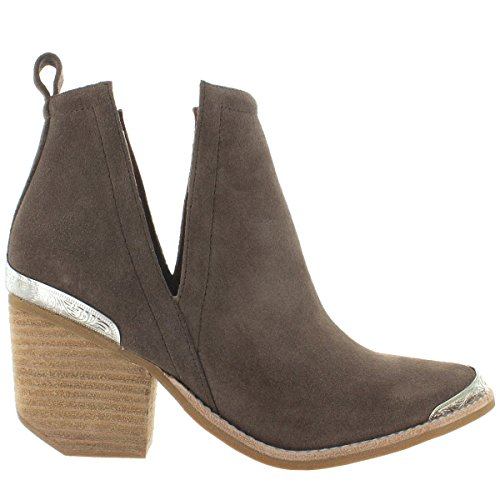 Jeffrey Campbell Women's Cromwell Suede Booties, Taupe, Tan, 9 M - Jeffrey Out Campbell Cut