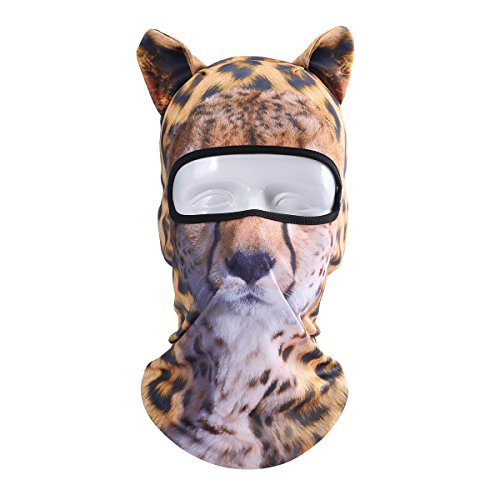 JIUSY 3D Cute Animal Ears Face Mask Windproof Breathable Balaclava for Skiing Cycling Motorcycle Snowboard Skateboard Hiking Fishing Halloween Party (Leopard Faces For Halloween)
