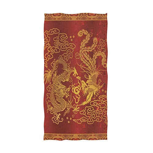 Dragon Design Beach Towel - Naanle Beautiful Dragon and Phoenix Soft Highly Absorbent Large Decorative Hand Towels Multipurpose for Bathroom, Hotel, Gym and Spa (16