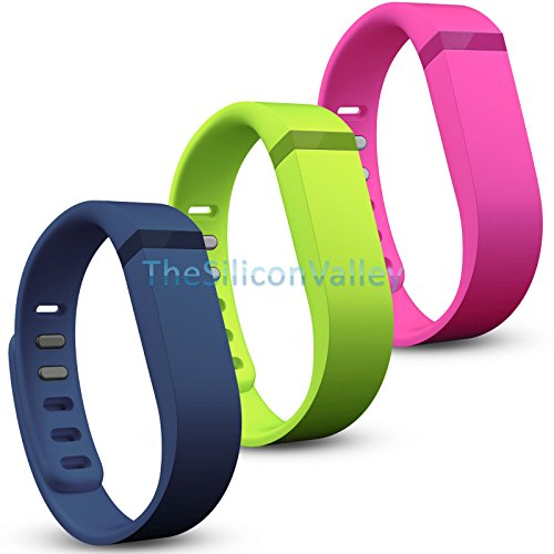 3 Pcs Large Size Replacement Wrist Band w/ Clasp for Fitbit Flex Bracelet (Navy / Lime / Pink)