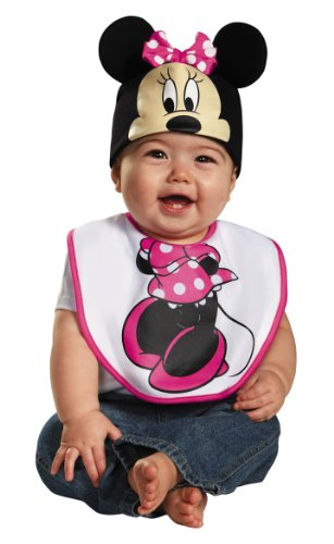Disguise Baby Girl's Disney Mickey Mouse Pink Minnie Infant Bib and Hat Costume, Pink, 0-6 Mths ()