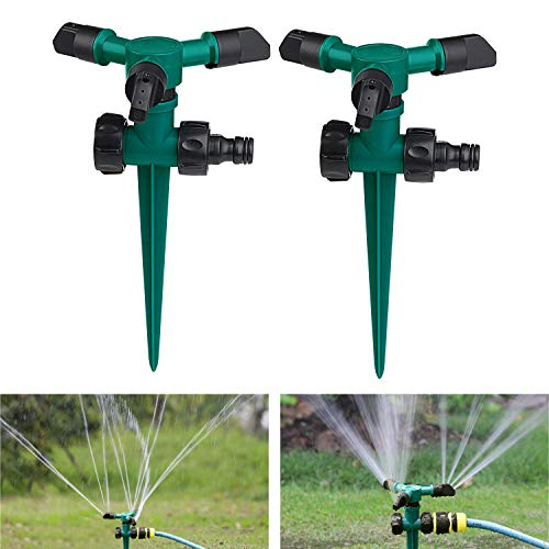 Awpeye 2 Pack Lawn Sprinklers for Garden, 360 Rotating Water Sprinkler Irrigation 3600 Square Feet, Gardening Watering System