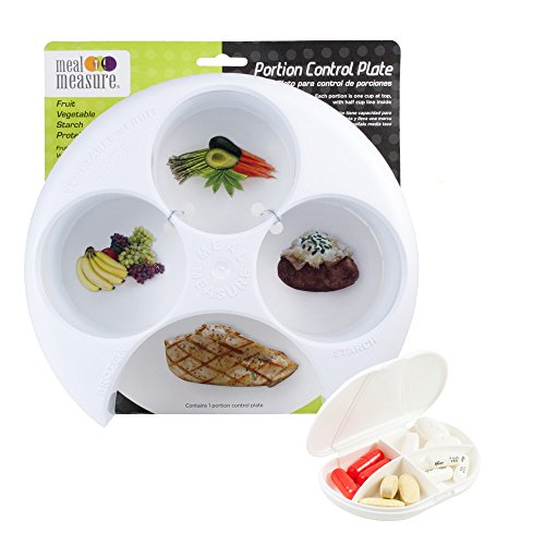 Meal Measure Portion Control - 4 Sections for Easy Food Portioning (1 White w/Pill Case) (Diabetes Measuring Cups)