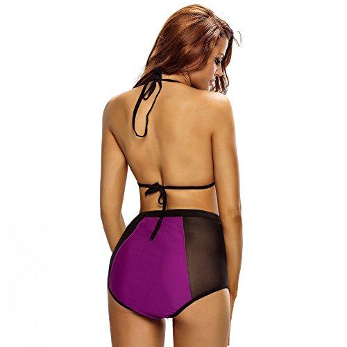 Erica Conjunto de bikini Bandeau para mujer Push Up Lace Patchwork traje de baño de dos piezas High Rise Wireless Pad acolchado Bra Purple