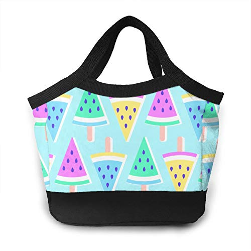 YVONNE WIDLAN Polyester Lunch Bag Tote Reusable Waterproof Lunchbox Pastel Summer Melon Popsicles Storage Bag with Leak Proof Liner for Men, Women