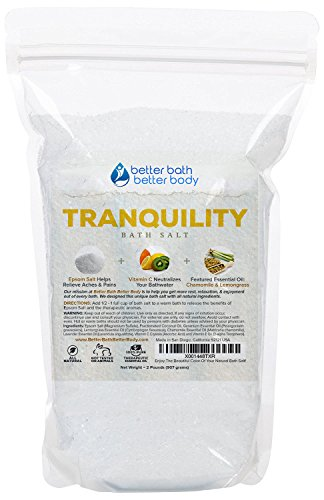Tranquility Bath Salt 32oz (2-Lbs) - Epsom Salt With Lemongrass & Chamomile Essential Oils & Vitamin C - Enjoy Calming Effects Of This All Natural Bath Soak - No Perfumes - Bath Lemongrass Lavender Salts