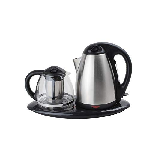 Dual Electric Kettle and Tea Maker Set Stainless Steel & Glass & Keep Tea Warm Tray