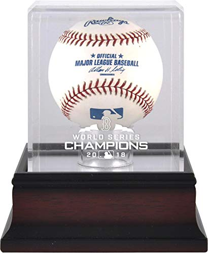 Sports Memorabilia Boston Red Sox 2018 MLB World Series Champions Mahogany Logo Baseball Display Case - Baseball Logo Display ()