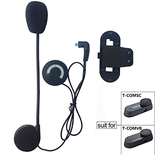 FreedConn Microphone Headphone Hard Cable Headset & Clip Accessory for T-COMVB and T-COMSC Series Motorcycle Helmet Bluetooth Interphone Motorbike Intercom