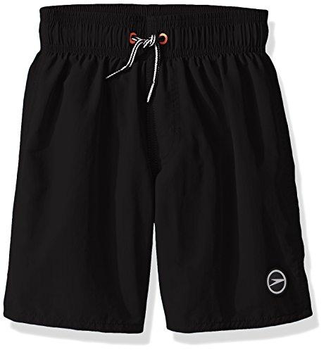 I Play Trunk - Speedo Boys Sun Ray Volley Short Swim Trunk, Black, Medium