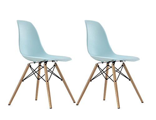 DHP Mid Century Modern Chair with Wood Legs, Set of 2, Light Blue 200 Modern Dining Chair