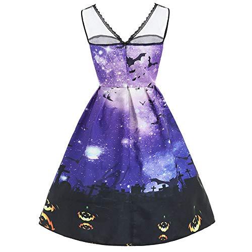 BXzhiri Women Sleeveless Dress Print Cat Halloween Evening