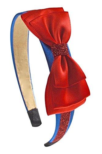 Snow White Inspired Sparkling Glitter Bow Headband By Funny Girl Designs (Royal (Glitter Walt Disney)