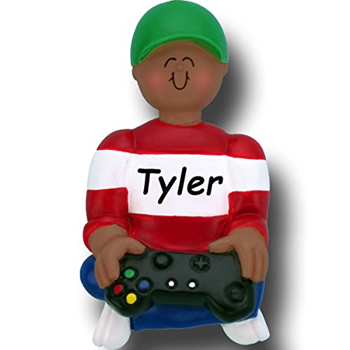 Personalized Video Game Player Christmas Ornament with Your Name - African American (Name Ornament)