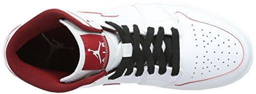 Nike Air Jordan 1 Mid, Zapatillas de Deporte para Hombre Blanco (White / Gym Red-Black)