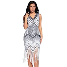 Meilun 1920s Sequined Inspired Beaded Gatsby Flapper Evening Dress Prom