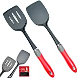 Latest 2-pc Kitchen Spatula Set - Multipurpose Solid And Slotted Spatulas -Nylon Utensils That Never Scratch Nonstick, Enamel, Teflon, Glass Pots And Pans
