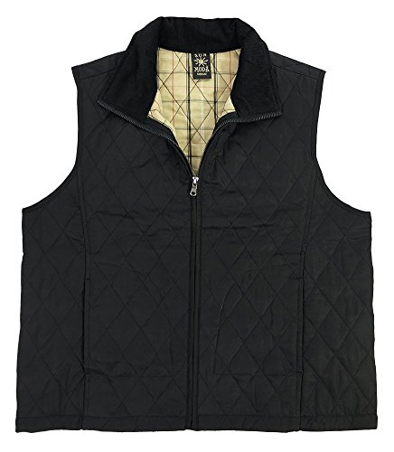 (iCantoo Sun Moda Women's Quilted Microfiber with Chanille Vest Black)