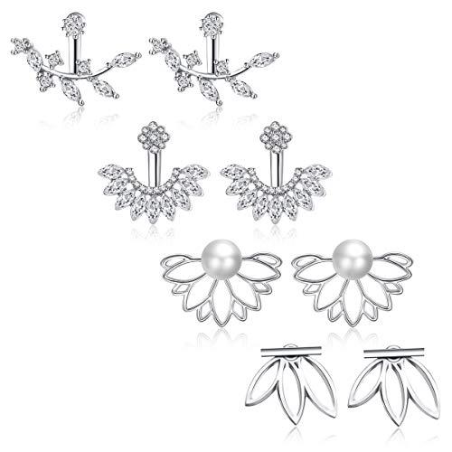 JieyueJewelry 4 Pairs Lotus Flower Earrings Stud Jacket Earrings Simple Chic Earrings Back Cuffs Stud Earring sets for Women Girls (Silver-2) (Earring Jacket Set)