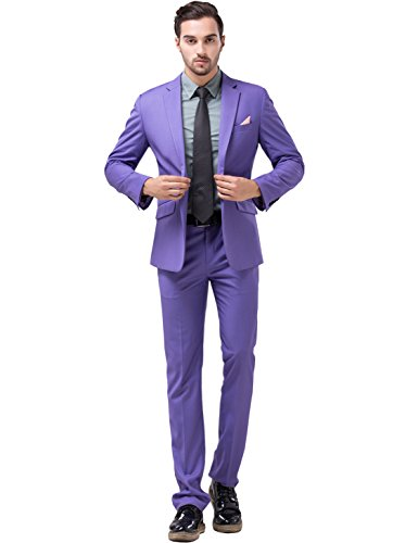 Tsui-Fashion Joker costume Slim Fit Suits Wear to work Party Jacket Pants XZ00170PP 36R M Best Man Suit Groomsman Suits Wedding Suits Halloween Costume