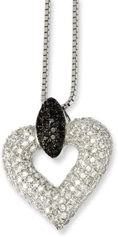 2 Extender Brilliant Embers Sterling Silver Rhodium-plated Black /& White CZ Heart Pendant Necklace 18