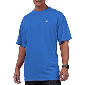 Champion Men's Big & Tall Crew-Neck Jersey T-Shirt (Candid Blue, 2XT)