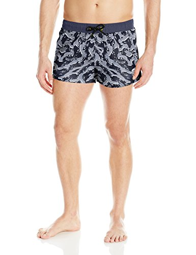 Diesel Men's Caybay Printed Short 12inch Swim Trunk, Black Splatter Print, Large (Diesel Shorts Swimming Men)