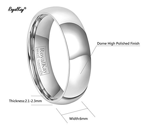 RoyalKay 2mm 4mm 6mm White Tungsten Wedding Band Ring Men Women Plain Dome High Polished Comfort Fit Size 3 To 17 (6mm,9) by RoyalKay (Image #3)