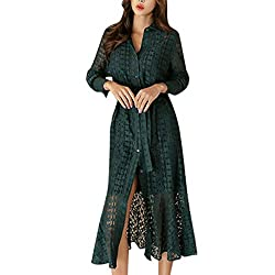 Gowom Women Ladies Office Lace Sexy Long Sleeve Tie Up Button Down Flare Mermaid Dress Green Small