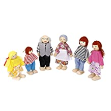 6pcs Wooden Family Members People Characters Kids Dolls House Role Play Toys