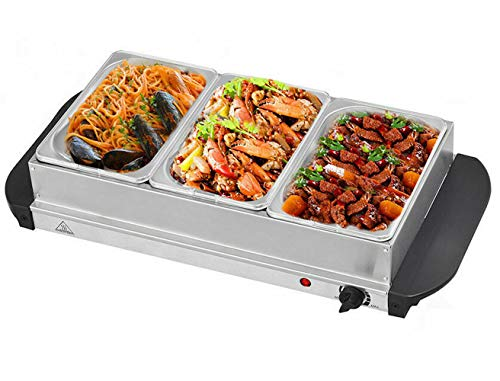Cypress Shop Food Warmer Buffet Server 1.5 Quart Stainless Steel 3 Removable Trays Dining Serving Tabletop Warming Chafing Dishes Food Services Equipments Supplies Catering Parties Home Furniture