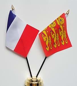 """Francia y superior normany amistad Bandera de mesa pantalla 25cm (10"""")"""