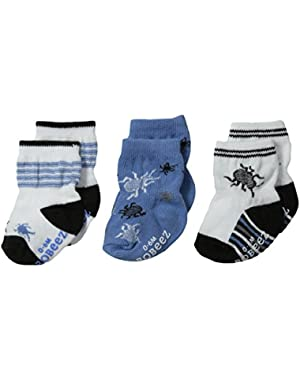 Baby-Boys Newborn 3 Pair Socks Exploring Critters