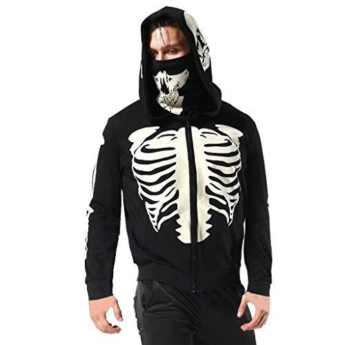Mens Hoodie,Funny Mask Skull Hooded Pullover Solid Sweatshirt Blouse Tops Zulmaliu (Black-A, S)