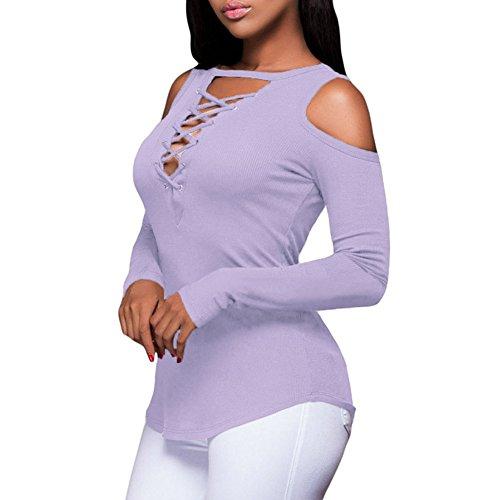 Newbestyle - Camiseta de manga larga - para mujer morado