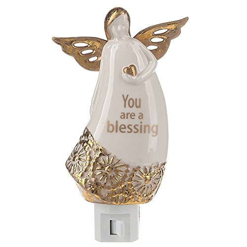 Best Night Light A White & Gold Glass Decorative Guardian Angel ''You Are A Blessing'' Plug in for Safety, Bright Soft & Soothing by Lights in the Night