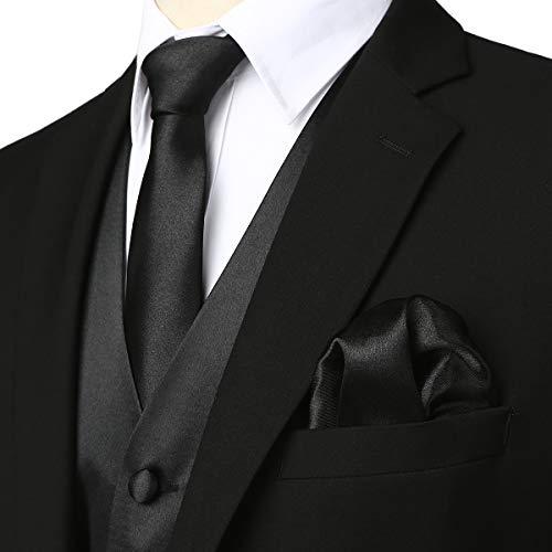 ZEROYAA Men's Solid 4pc Shiny Satin Vest Necktie Bowtie Pocket Square Set for Suit or Tuxedo ZLSV12 Black Small ()