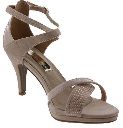 XTI Damen 030123 Sandalen mit Knöchelriemen, Schwarz Rosa