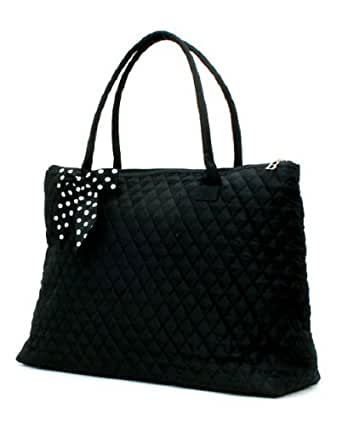Lar Lar Quilted Solid Extra Large Tote Bag (Black/White)