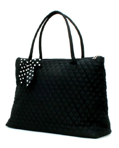 Ngil Quilted Cotton Extra Large Overnight Travel School Tote Bag 3 (Fall 2017 New Pattern) (Solid Black Polka Dot Bow)