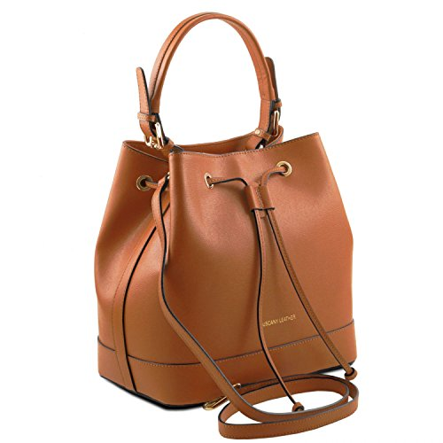 Tuscany Leather Minerva Borsa secchiello da donna in pelle Saffiano Cognac Cognac Wiki De Venta En Línea vdT9yMRb1