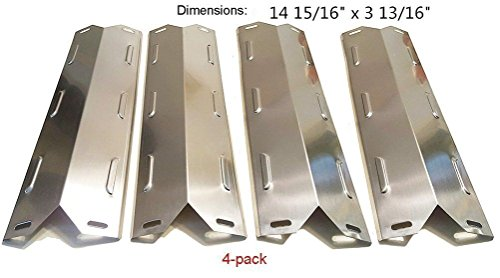 Zljiont Heat Plate Replacement for Charbroil 640-01303702-3 and Kenmore 146.16222010, (4-pack) Stainless Steel Grill Heat Plate Cooking Replacement Parts for Patio, Lawn & Garden Grills Outdoor