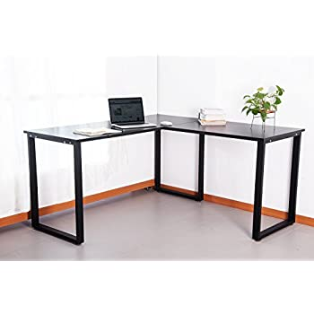 merax 59u201d lshapped desk with metal legs office desk corner computer desk pc laptop table workstation black finish - Corner Computer Desks