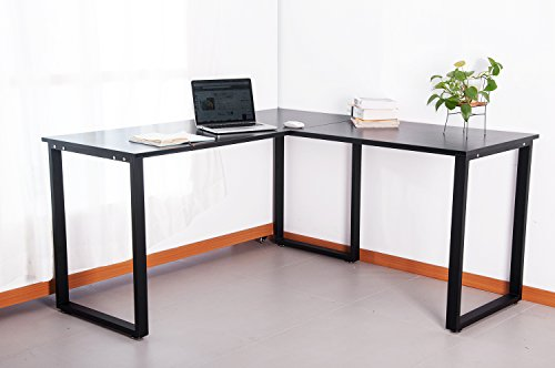 "Merax 59"" L-Shapped Desk with metal Legs Office Desk Corner Computer Desk PC Laptop Table Workstation , Black Finish by Merax"