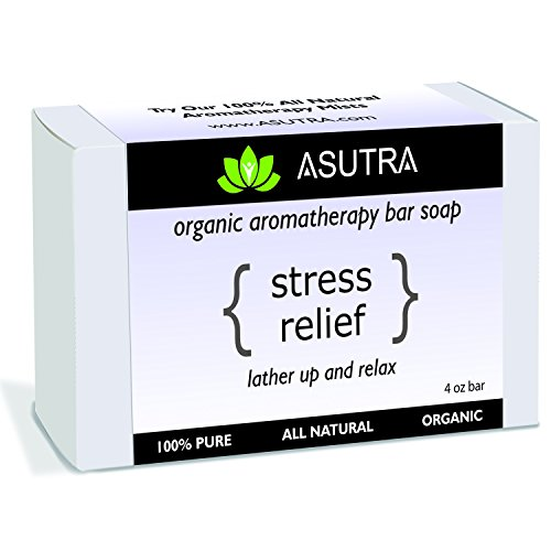 """Organic Aromatherapy Bar Soap - """"STRESS RELIEF"""" - Lather Up & Relax - 100% Pure, Vegan, Natural, Lavender Essential Oil + FREE Storage & Travel Case (1pk /4 oz) (Stress Relief Soap Bar)"""