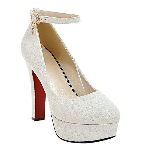 Unie De Des Carolbar Talon Mode Blanc Couleur Plate De De forme Chaussures Cour Haute Femmes FAdnwgq
